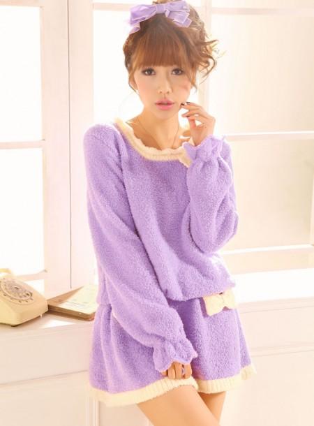 活动名称:酒井美黛浅紫色柔软蝴蝶结家居裙